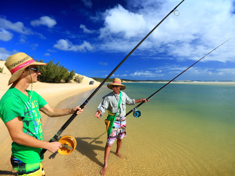 Fishing from Eliza Fraser Lodge eco-tourism on beautiful Fraser Island, Australia