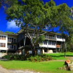 Australian flag flies outside Eliza Fraser Lodge eco-tourism on beautiful Fraser Island, Australia