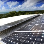 Solar panels at Eliza Fraser Lodge eco-tourism on beautiful Fraser Island, Australia