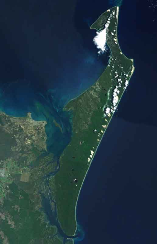 Satellite view of Eliza Fraser Lodge eco-tourism on beautiful Fraser Island, Australia